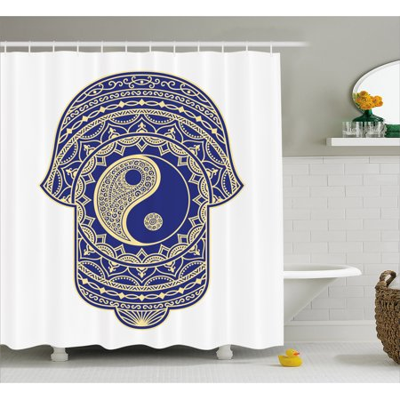 Hamsa Shower Curtain Artistic Symbol In Japanese Style With Ying Yang Sign Spiritual Mysticism Zen