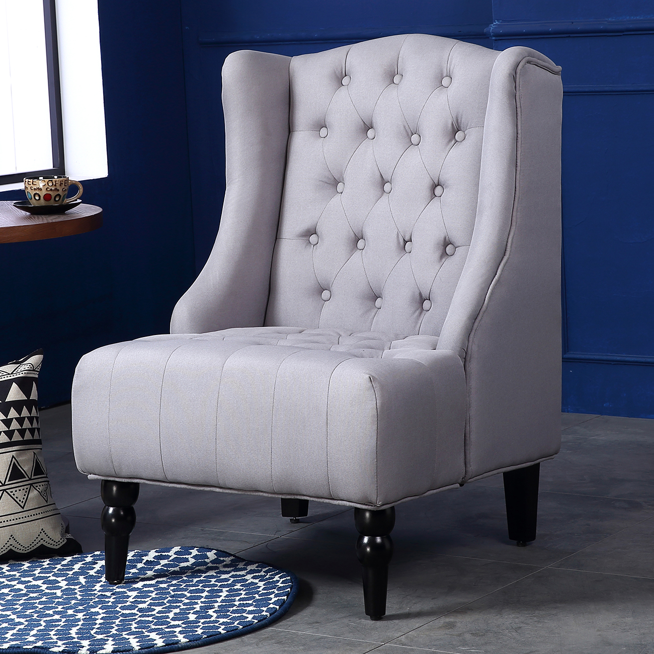 Belleze Modern Wingback Tufted NailHead Accent Chair Tall Back Velvet Wing  Chair, Gray
