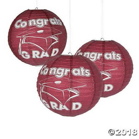 - Burgundy Congrats Grad Hanging Paper Lanterns