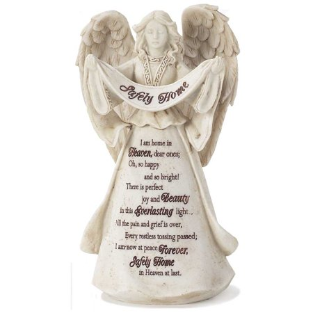 Safely Home in Heaven at Last Stone 6.5 Inch Resin Tabletop Angel Figurine