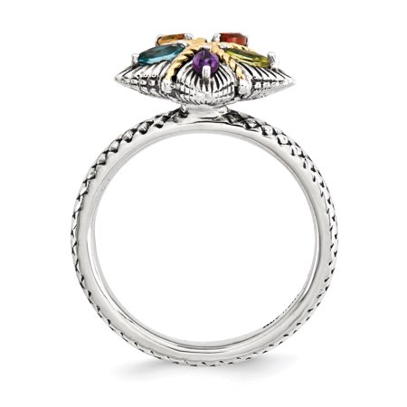 Sterling Silver & 14k Stackable Expressions Gemstone Antiqued Ring Size 7 - image 2 of 3
