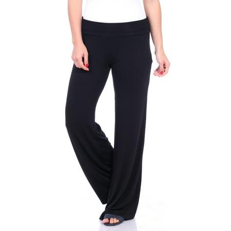 Women's Wide Leg Comfort Waist Solid Color Palazzo Pants S-3X ()
