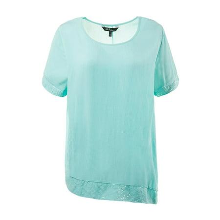 09de36a1345 Ulla Popken Women s Plus Size Asymmetric Sequin Hem Blouse 710375 ...