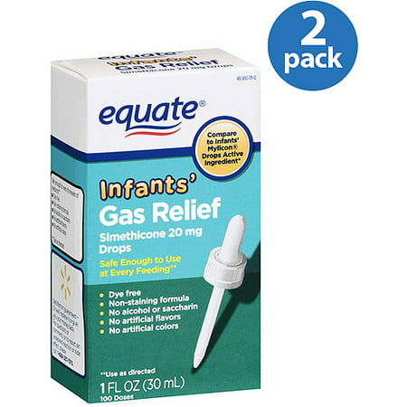 (2 Pack) Equate Infants Gas Relief Simethicone Drops, 100 Ct, 1 (Cold Medicine For Infants Under 6 Months)