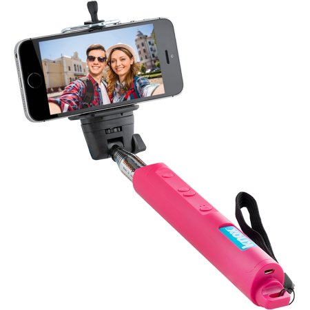 knox monopod selfie stick with bluetooth remote and zoom function pink. Black Bedroom Furniture Sets. Home Design Ideas