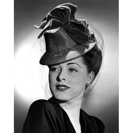 Eleanor Parker Wearing A Tall Crowned Chapeua Made Of Felt With Velvet Bows 1943 Photo Print](Felt Flower Crown)