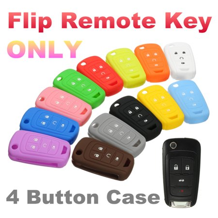 Orange Frog Shell (Silicone 4 Button Flip Remote Key Case Fob Protect Cover Shell Holder For Chevrolet GM Colored All Color Red MATCC Orange Black White Green Blue Brown Yellow Grey Pink )