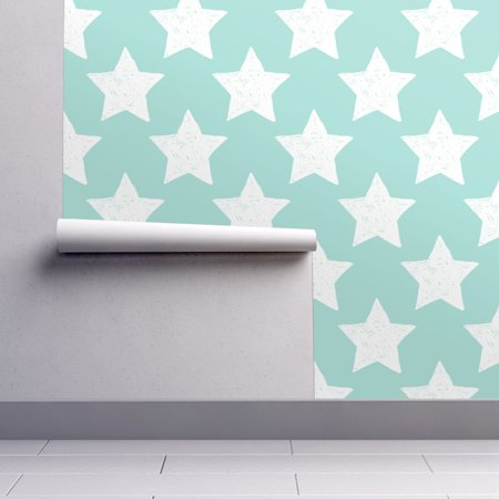 Removable Water-Activated Wallpaper Star Star Aqua White Star Stars Night Dreams](Halloween Night Wallpaper)