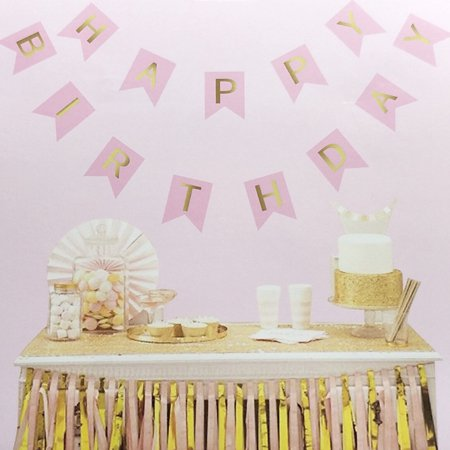 (Pink Happy Birthday Banner / garland with gold foiled Letter for birthday party decoration, garland Party Supplies Decoration for Kids Adult Birthday Party)
