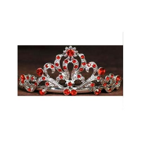 Angels Garment Little Girls Silver Red Rhinestone Fancy Tiara - Red Tiaras