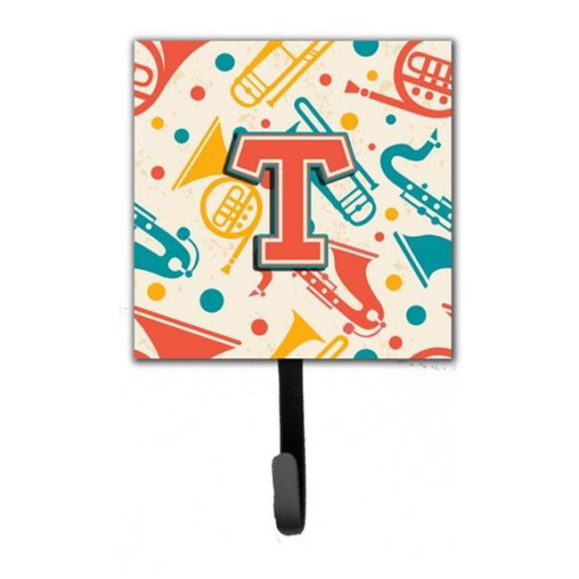 Carolines Treasures CJ2001-TSH4 Letter T Retro Teal Orange Musical Instruments Initial Leash & Key Holder - image 1 of 1