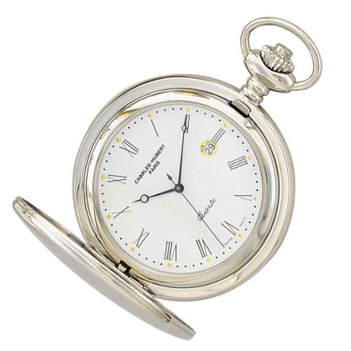White Dial High Polish Stainless Steel Pocket Watch