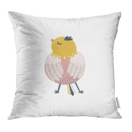 YWOTA Colorful Baby Bird Cute Animal White Yellow Cartoon Clipart Fly Fun Girl Happy Kids Pillow Cases Cushion Cover 16x16 inch