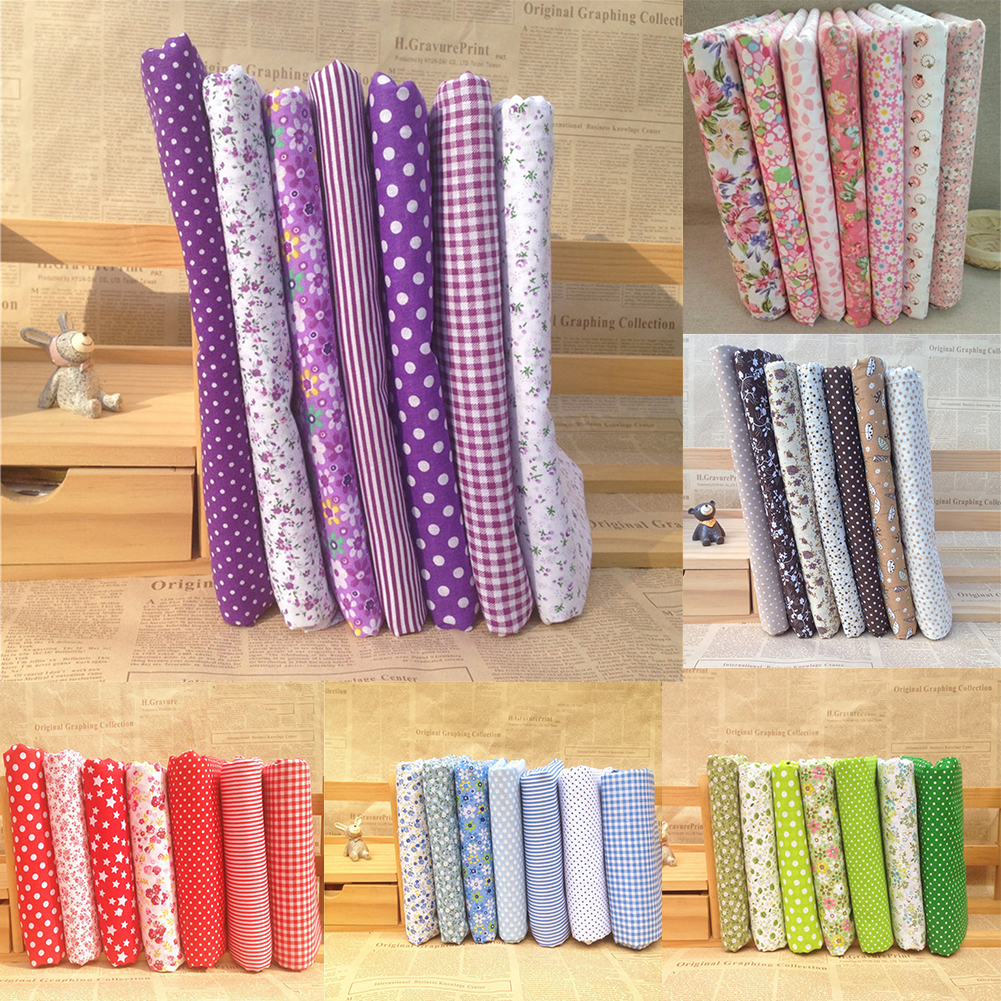 Girl12Queen 7Pcs/Set Quilting Fabric Floral Cotton Cloth DIY Craft Sewing Handmade Accessory