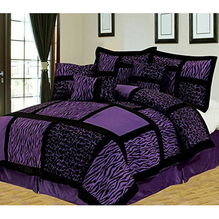 Empire Home Safari 7 Piece Purple Queen Size Comforter Set On Sale