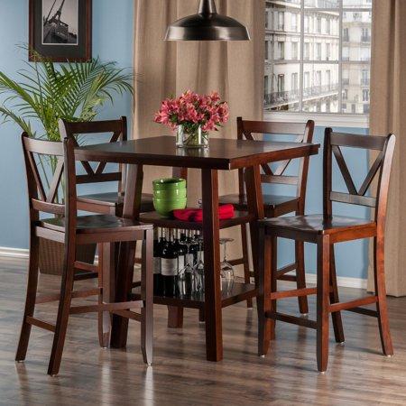 Orlando 5-Pc Set High Table, 2 Shelves w/ 4 V-Back Counter Stools ()