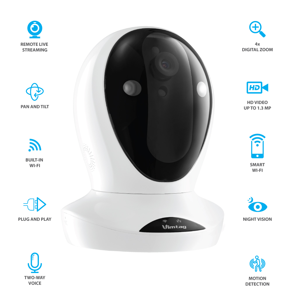 Vimtag P1 Premium IP Wireless Network Security Camera, Plug/Play, Pan/Tilt with Two-Way Audio and Night Vision