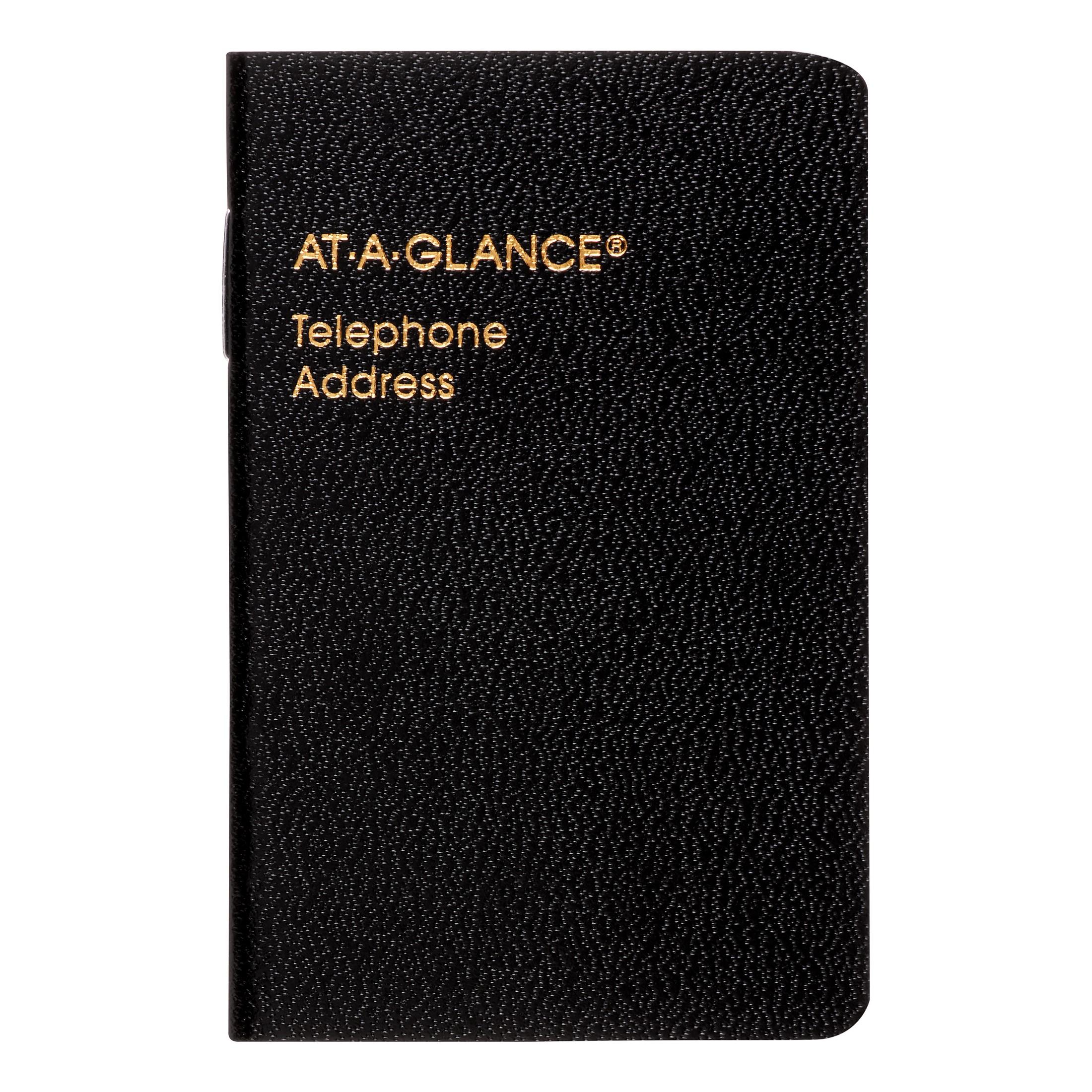 AT-A-GLANCE Pocket Telephone/Address Book, Black
