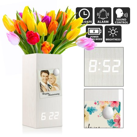 Wooden Alarm Clock Vase Modern Wood Digital Alarm Clock Voice Control Electric Smart LED Alarm Clock with Flower Plant Vase for Bedroom Office Home - White with White Light