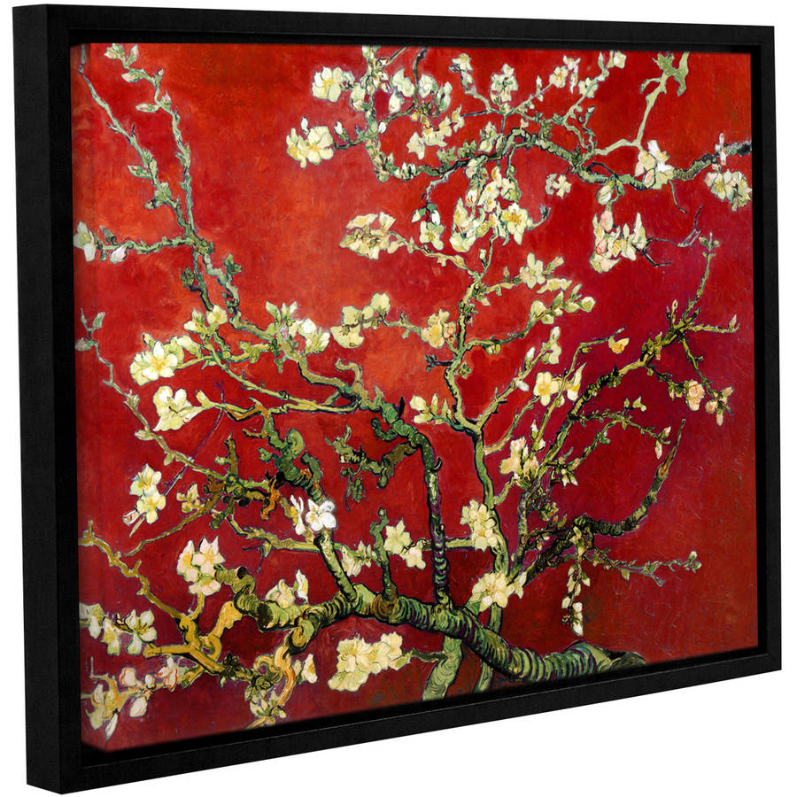"Vincent Van Gogh ""Interpretation In Red Almond Blossom"" Floater-Framed Gallery-Wrapped Canva"