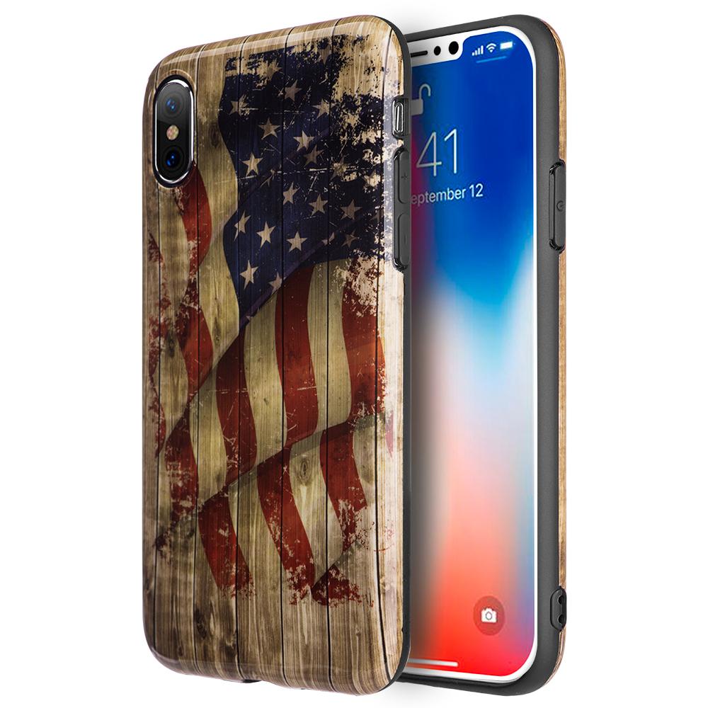 MUNDAZE Vintage USA American Flag Design TPU Case For Apple iPhone X Phone