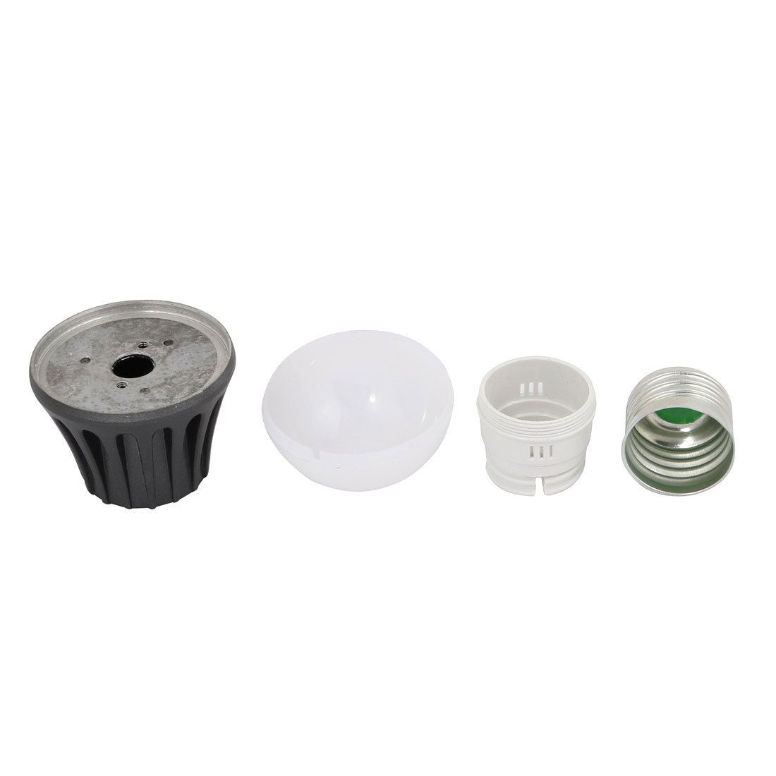 4 Pcs 3W Aluminum Alloy Black Ball - Bulb Lamp Housing E27 Base w White Cover - image 1 of 4