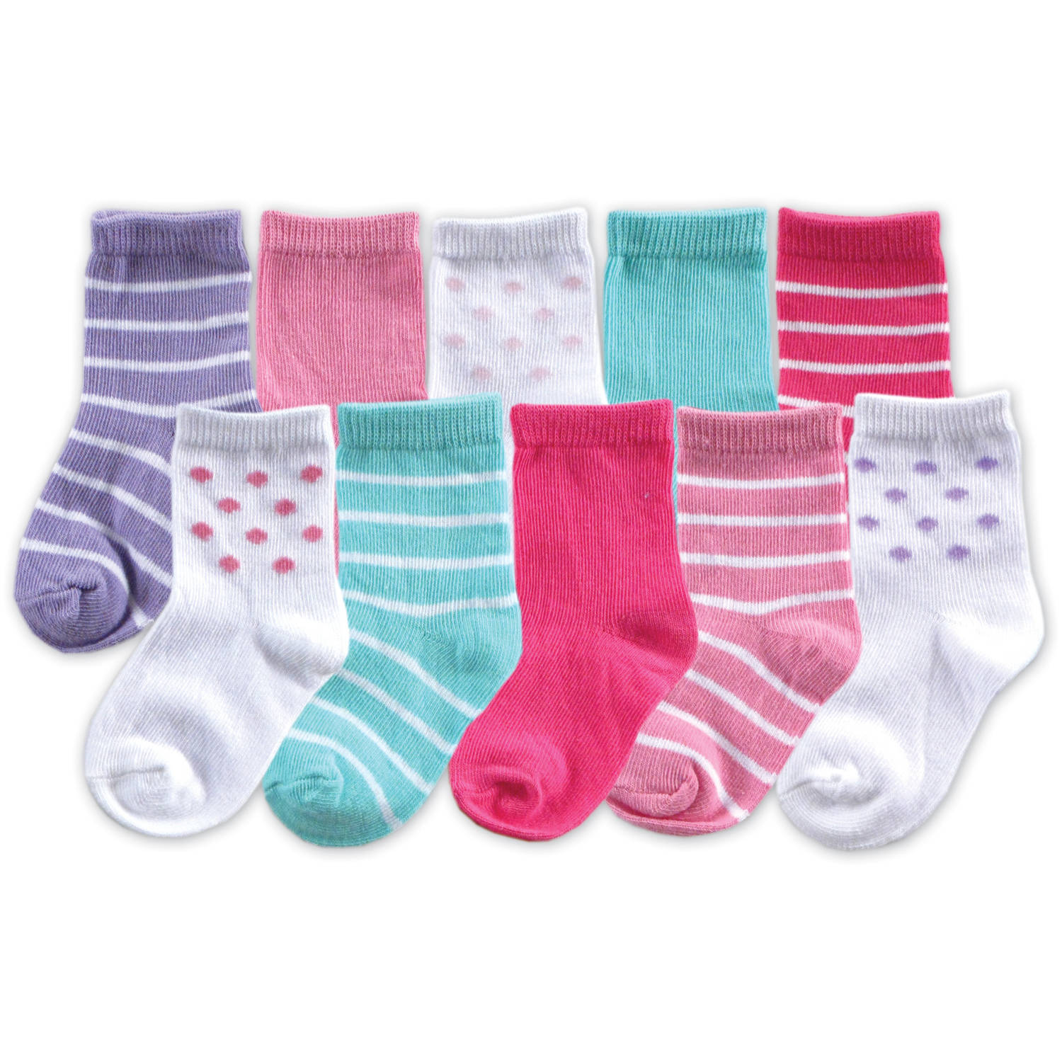 Luvable Friends Newborn Baby Girl Socks 10-Piece Giftset, Pink