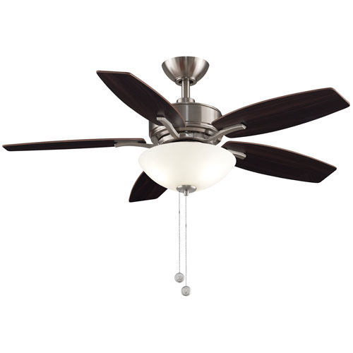 Aire Deluxe Brushed Nickel with Cherry and Dark Walnut Blades 44-Inch LED Ceiling Fan by