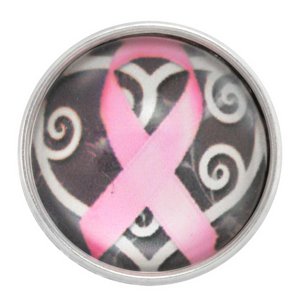 NUGZ Jewelry 94075 Charm - Nugz Snap On - Pink Ribbon On White Scroll Heart