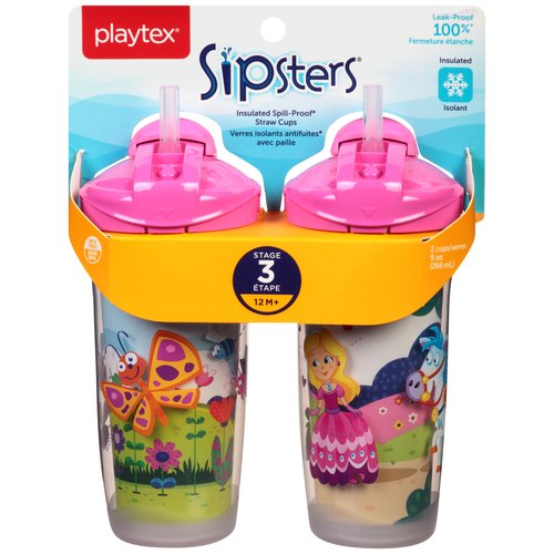 Playtex Sipsters 9 oz Insulated Straw Cups Stage 3 12 m+, 2 count