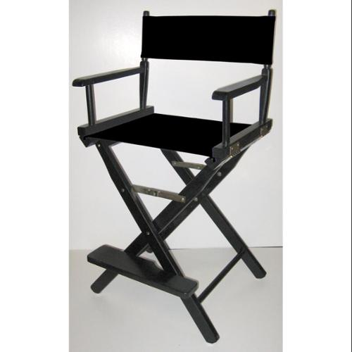 Folding Director's Style Chair w 24-Inch Seat Height & Black Finish Frame (Black)
