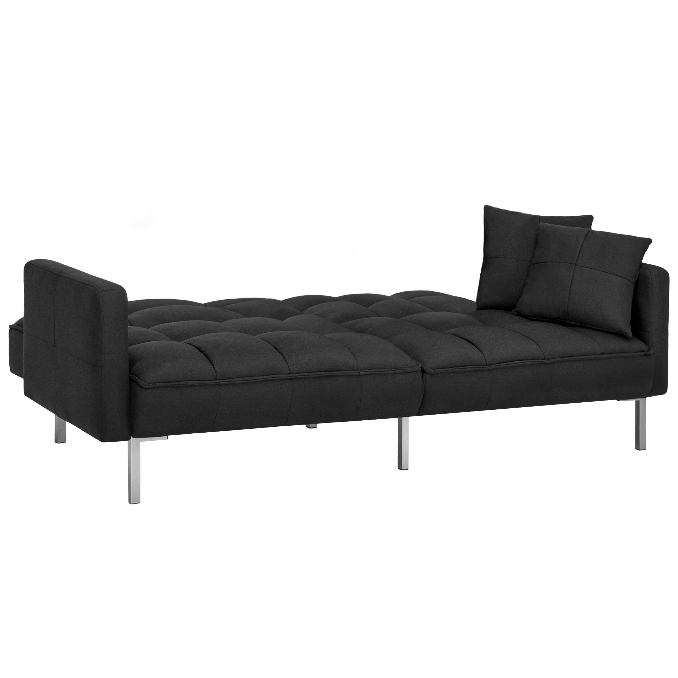 Best Choice Products Convertible Futon Linen Tufted Split Back Couch W Pillows Black Com