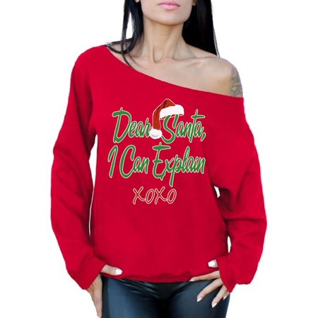Awkward Styles Dear Santa I Can Explain XOXO Christmas Off the Shoulder Sweatshirt Sweater Santa Hat Off the Shoulder Top Slouchy Oversized Sweatshirt Santa XOXO Ugly Christmas Sweater for Women - Woman Ugly Christmas Sweater