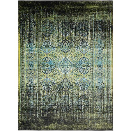 5.25' x 7.25' Black and Grass Green Vintage Style Rectangular Area Throw (Scatter Grass)