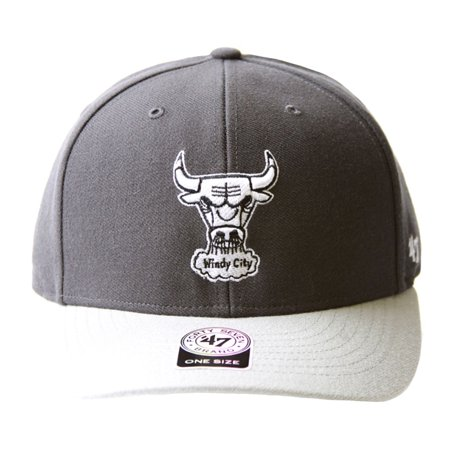 NBA 47 Brand Chicago Bulls 2 Tone Hook & Loop Adjustable Hat + GT Sweat Wristband- Charcoal Grey - 47 Brand Blank Hats