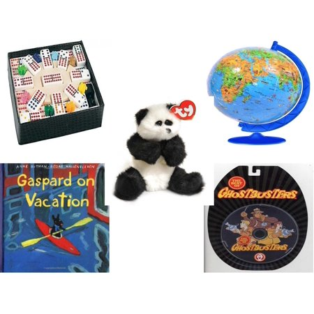 Children's Gift Bundle [5 Piece] -  Mexican Train Double Twelve Dominoes Set - XXL Children's Globe 180 Piece ball  - Ty Attic Treasures Checkers the Black and White -