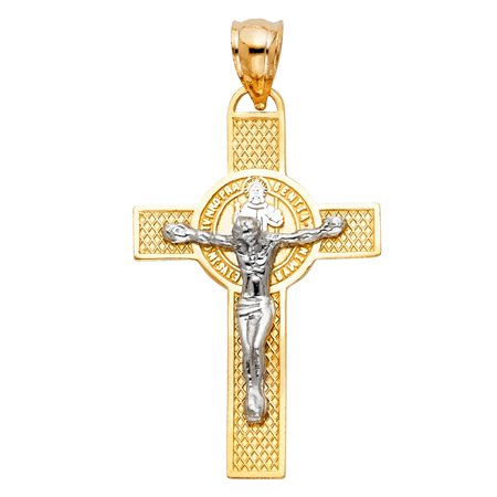 Jewels By Lux 14K White and Yellow Two Tone Gold San Benito Crucifix Cross Pendant 40mm X (San Bruno Pendant)