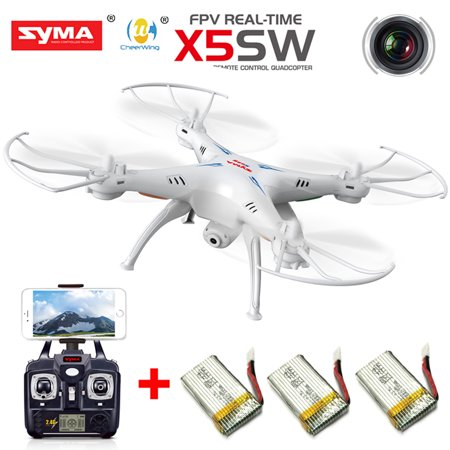 Cheerwing Syma X5sw Uav Fpv 2 4Ghz 4Ch 6 Axis Gyro Rc Qucopter Drone Ufo Headless Mode With 0 3Mp Hd Wifi Camera Support Ios Android Rtf 3 Batteries