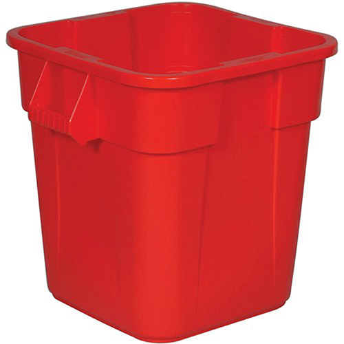 RUBBERMAID BRUTE Square Container - 28-Gallon Capacity - Red, Lot of 1