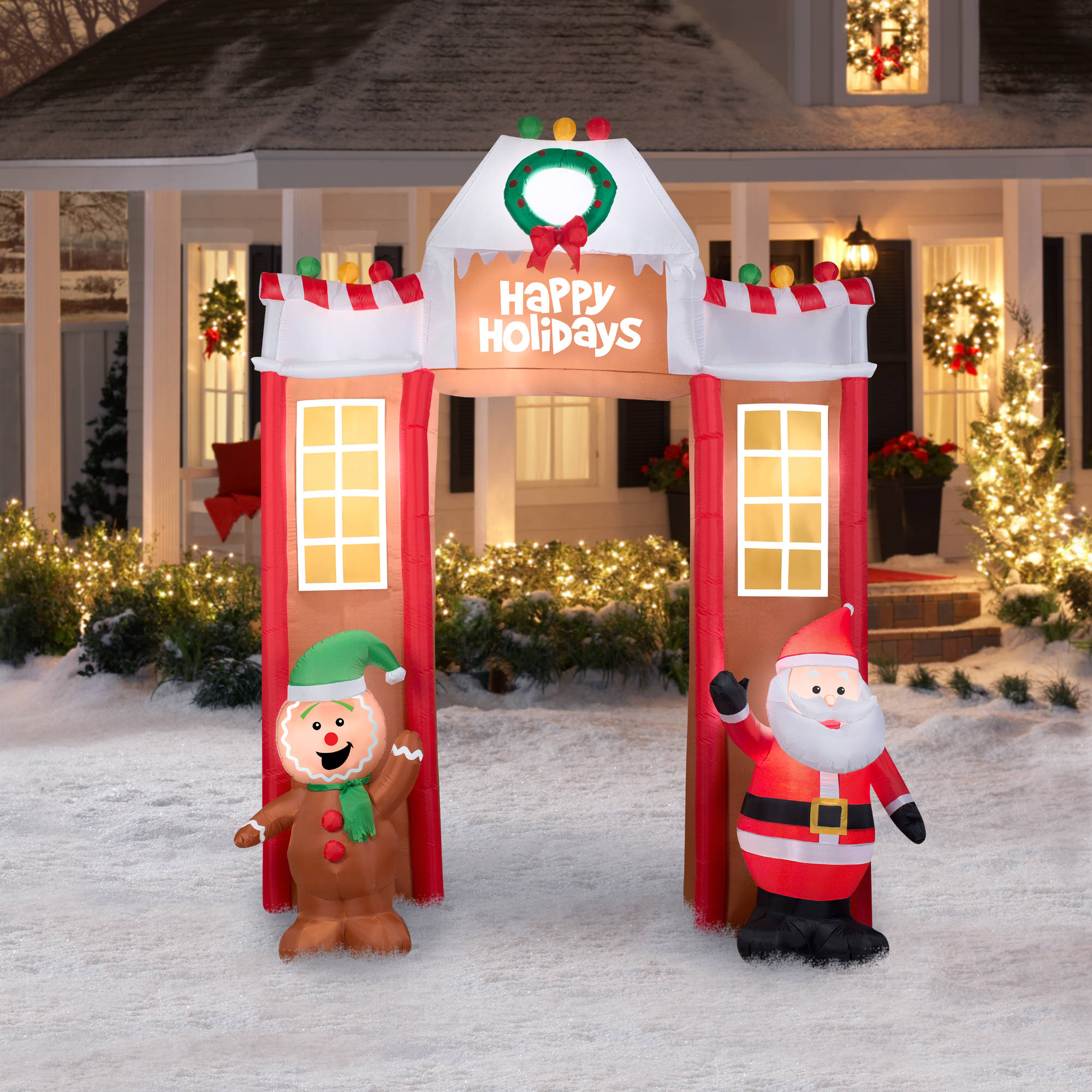 106 airblown inflatable gingerbread archway christmas inflatable walmartcom