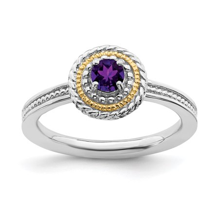 925 Sterling Silver 14kt Purple Amethyst Band Ring Size 8.00 Stone Stackable Gemstone Birthstone February Fine Jewelry Ideal Gifts For Women Gift Set From Heart