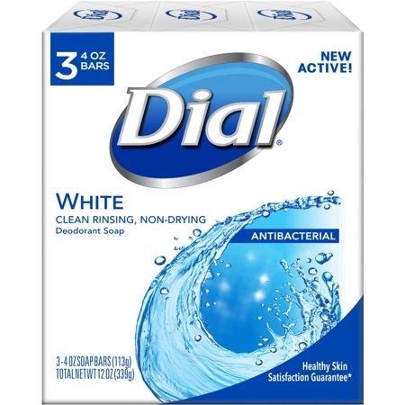 Dial Antibacterial Deodorant Soap 4oz Bars White 3 (Bright White Dial)