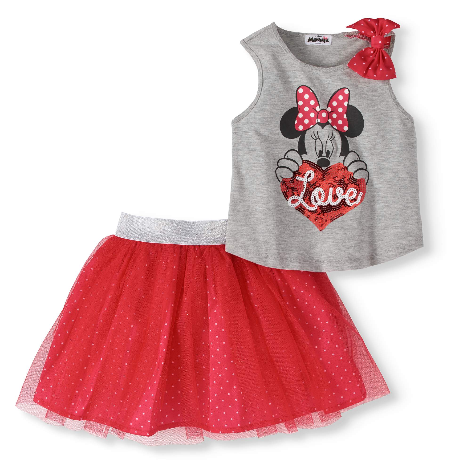 Girls' Bow Tank Top and Scooter Skirt 2-Piece Outfit Set
