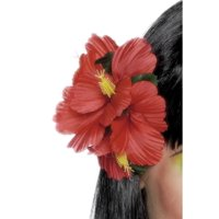 "19"" Red and Yellow Hawaiian Flower Women Adult Halloween Hair Clip Costume Accessory - One Size"