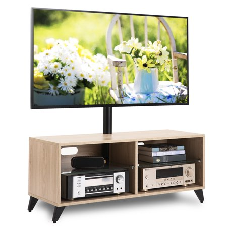 Rfiver Wood Media TV Stand Storage Console with Swivel Mount Height Adjustable Entertainment Center for 32 42 50 55 60 65