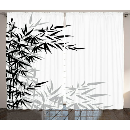Bamboo House Decor Curtains 2 Panels Set, Bamboo Leaves On Clear Simple Background Organic Life Artistic Illustration, Living Room Bedroom Accessories, By Ambesonne