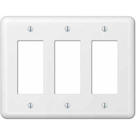 Devon White Steel Triple Rocker Wallplate