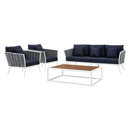Modern Contemporary Urban Design Outdoor Patio Balcony Garden Furniture Lounge Chair, Sofa and Table Set, Fabric Aluminium, White Navy