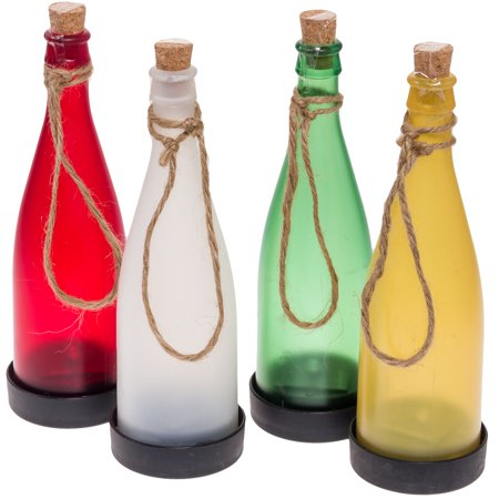 Greenlighting new multi colored solar led bottle decor for Colored bottles for decorations