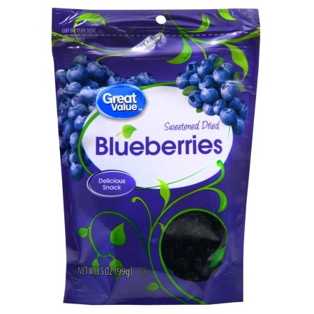 (2 Pack) Great Value Dried Blueberries, 3.5 oz